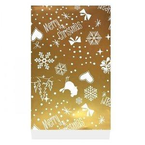 Merry Christmas goud zakjes - 5 zakjes - maat L