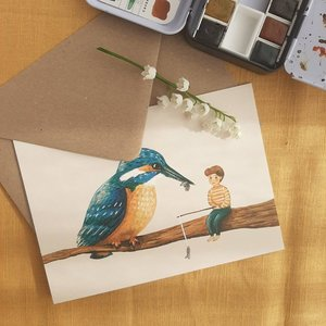 Vissende IJsvogel - Ansichtkaart