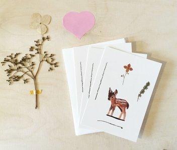 Hertje en goudhaantje (set) - Minikaartjes en envelopjes