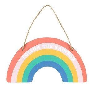 Follow the rainbow Hangend Bordje Hout