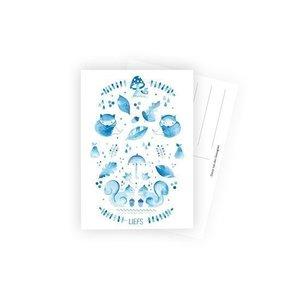 Herfst blauw wit - Ansichtkaart