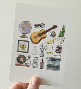 """A6 postkaart """"hipster home"""""""