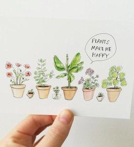 "A6 Postkaart ""Plants Make Me Happy"""