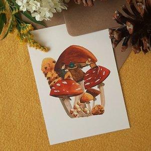 Theetijd in de Herfst - Ansichtkaart