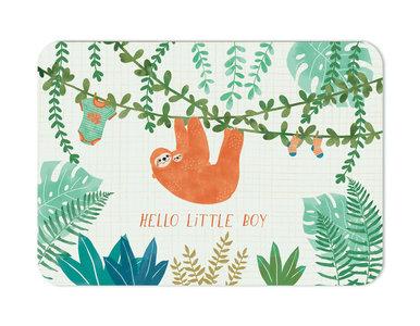 Hello little boy Luiaard - Ansichtkaart