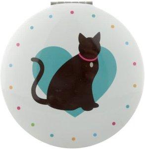 Ronde Zakspiegel Kat met Blauw Hart erachter Cat Compact Mirror