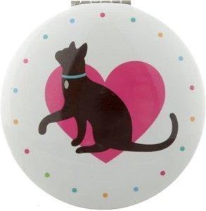 Ronde Zakspiegel Kat met Roze Hart erachter Cat Compact Mirror