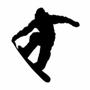 Snowboarder Zwart - Autosticker