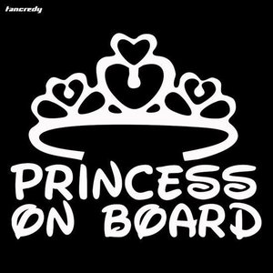 Princess on Board Zilverkleurig - Autosticker