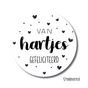 Van hartjes gefeliciteerd - Stickers - Set van 10