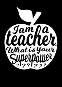 I am a teacher, what is your super power? - Ansichtkaart Zwart