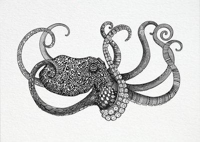Ansichtkaart I bamboe - octopus
