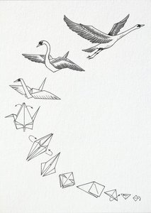 Ansichtkaart I bamboe - origami zwaan