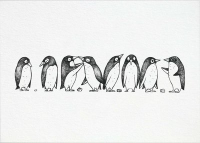 Ansichtkaart I bamboe - pinguïn liefdesverhaal