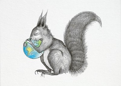 Ansichtkaart I bamboe - eekhoorn wereld