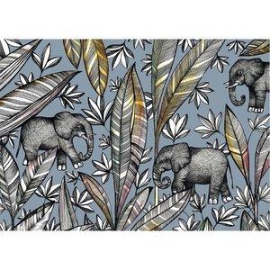 Ansichtkaart I bamboe - olifanten