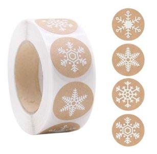 Sneeuwvlokken Wit op Kraft - Stickers - Set van 20