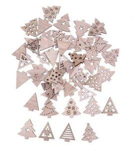 Houten Kerstboompjes Assorti 10 stuks