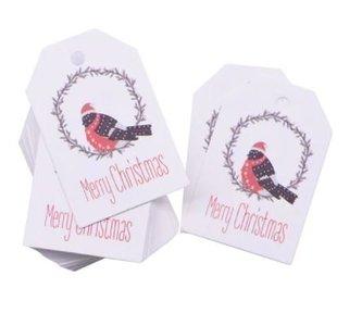 Vogel Merry Christmas Labels/Tags 10 stuks