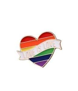 Regenboog Hart 'Love is love' Broche / Pin
