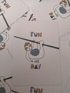 Luiaard 'Fun all day' Ansichtkaart