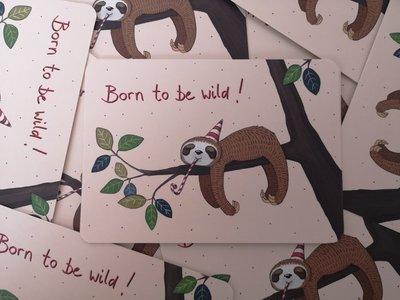Luiaard 'Born to be wild' Ansichtkaart