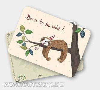 Luiaard 'Born to be wild' - Ansichtkaart