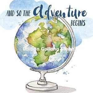 'And so the adventure begins' - Ansichtkaart vierkant