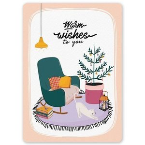'Warm wishes to you' Kerst - Ansichtkaart