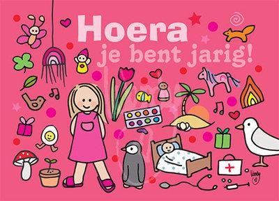 Hoera meisje roze - Ansichtkaart