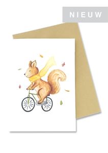 Eekhoorn op de fiets - Wenskaart