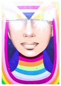 Regenboog Vrouw Straatkunst - Ansichtkaart
