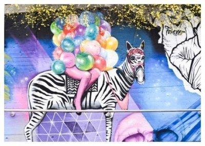 Zebra Ballonnen Straatkunst - Ansichtkaart