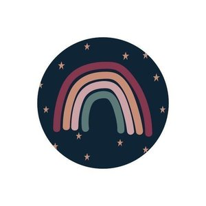 10 x Wensetiket rond 40mm - Regenboog + sterren fullcolor