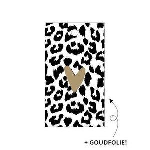5 x Cadeaulabel - Cheetah + hartje goud - 40x70mm