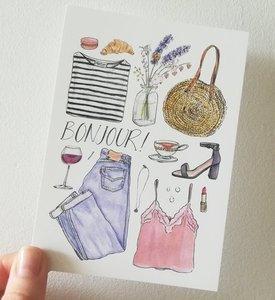 """""""Bonjour"""" A6 postkaart"""
