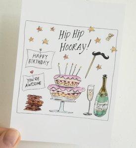 """Verjaardagskaart """"Pink Birthday Cake"""""""