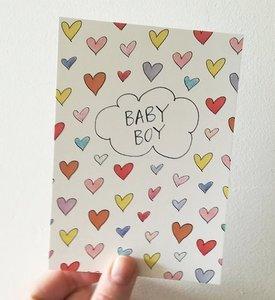 """A6 postkaart """"Boy hearts"""" / """"Girl hearts"""""""