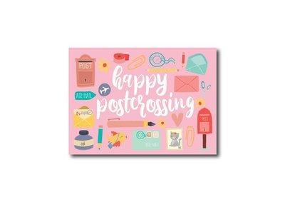 Happy Postcrossing Roze - Ansichtkaart