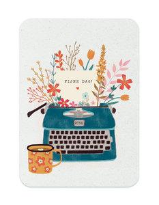 Blauwe typemachine Fijne dag - Ansichtkaart