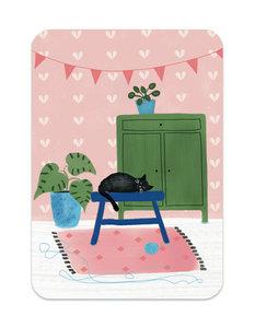 Slapende kat op krukje - Ansichtkaart