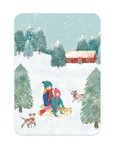 Winter Sleetje rijden - Ansichtkaart