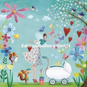 Kinderwagen met Elfje - Ansichtkaart vierkant