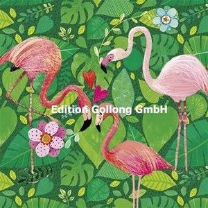 Flamingo's - Ansichtkaart vierkant