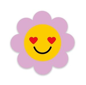 Paarse Bloem Smiley - Stickers - Set van 5