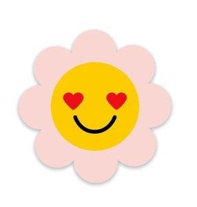 Roze Bloem Smiley - Stickers - Set van 5