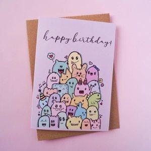 Happy Birthday Monstertjes - Dubbele Wenskaart