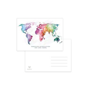 Wereldkaart Regenboog Quote - Ansichtkaart