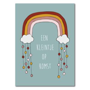 Een kleinje op komst Regenboog- Ansichtkaart