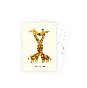Happy together Giraffen - Ansichtkaart